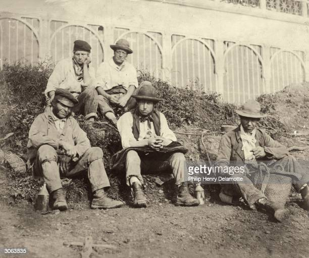 Workmen eating breakfast on the site of the reconstructed Crystal Palace in Sydenham south London