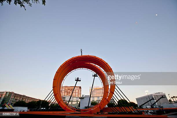 Workmen finish building a giant twin loop in downtown Los Angeles The maker of Hot Wheels Mattel collaborate with ESPN for a stunt sequence to be...