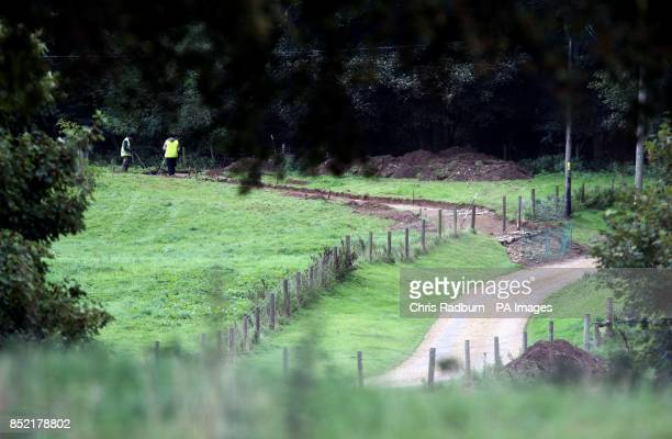 Workmen in the grounds of Anmer Hall on the royal Sandringham Estate in Norfolk after planning permission was granted at the Hall for alterations to...
