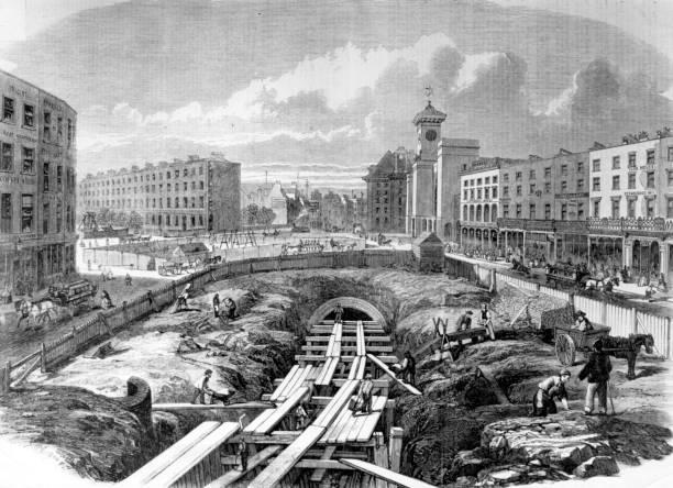 Workmen make progress on the Metropolitan Line underground...
