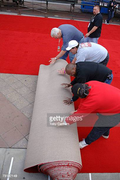 Workmen roll out the red carpet during preparations for the Screen Actors Guild Awards at the Shrine Auditorium January 27 2007 in Los Angeles...