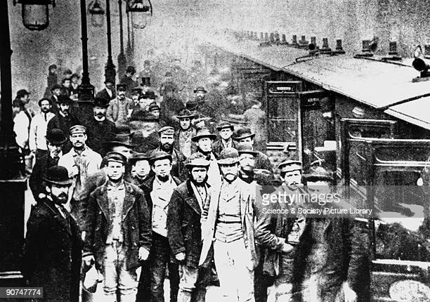 Workmen waiting at Liverpool Street Station 25 October 1884 'Workmen at the Great Eastern Railway's Liverpool Street Station pose by the 1255 pm...