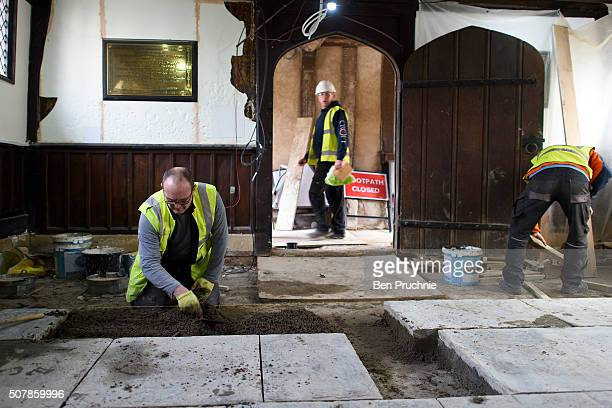 Workmen work on the interior of Shakespeare's Schoolroom Guildhall ahead of the 400th anniversary of Shakespeare's death on February 1 2016 in...