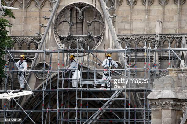 Workmen work to restore the roof of Notre-Dame de Paris on June 13, 2019 in Paris, France. On Saturday, June 15, 2019 Archbishop of Paris Mgr Aupetit...