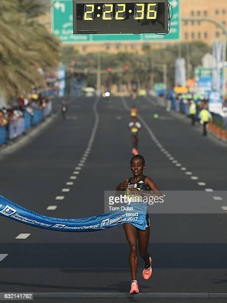 Worknesh Degefa of Ethiopia wins Elite Women's Standard Chartered Dubai Marathon 2017 on January 20 2017 in Dubai United Arab Emirates