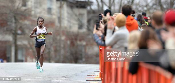 Worknesh Degefa runs in the 123rd Boston Marathon on April 15 2019 Degefa broke away from the pack early and maintained the lead to win