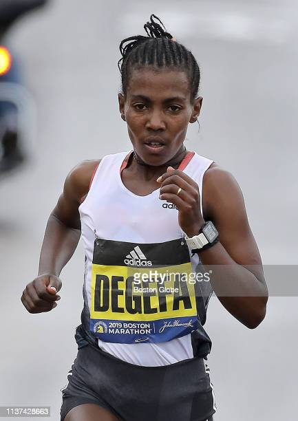 Worknesh Degefa runs the 123rd Boston Marathon on April 15 2019 Degefa won the 2019 edition of the race after pulling away early in the race