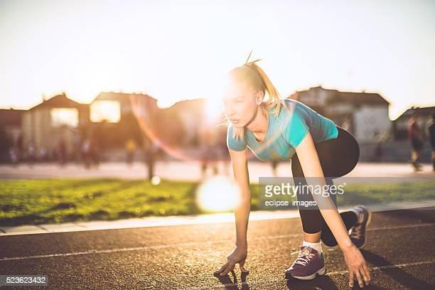 workout at sunset