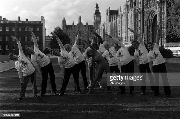 A workout for MPs in aid of Sports Aid in Westminster London Fronting the energetic group TV's Green goddess Diane Moran with MPs Colin Moynihan...