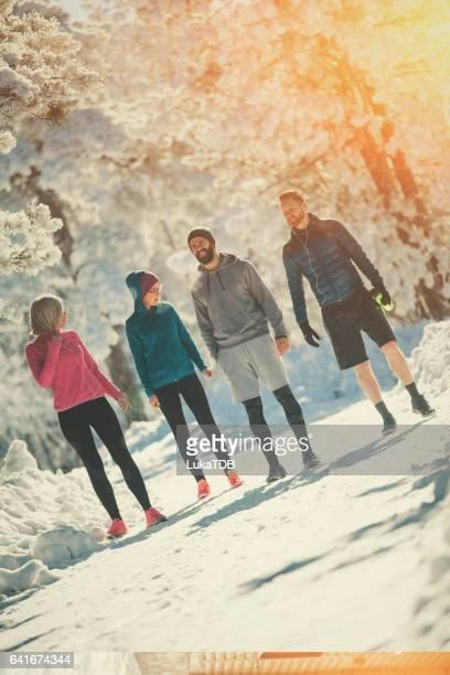 Training an einem Wintertag