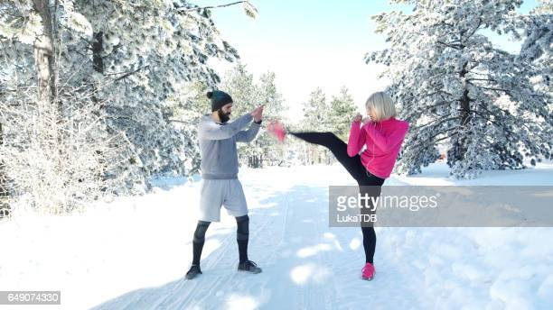 Training op een winterdag