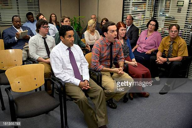THE OFFICE Workplace Bullying Episode 901 Pictured Back row Leslie David Baker as Stanley Hudson Craig Robinson as Darryl Philbin John Krasinski as...