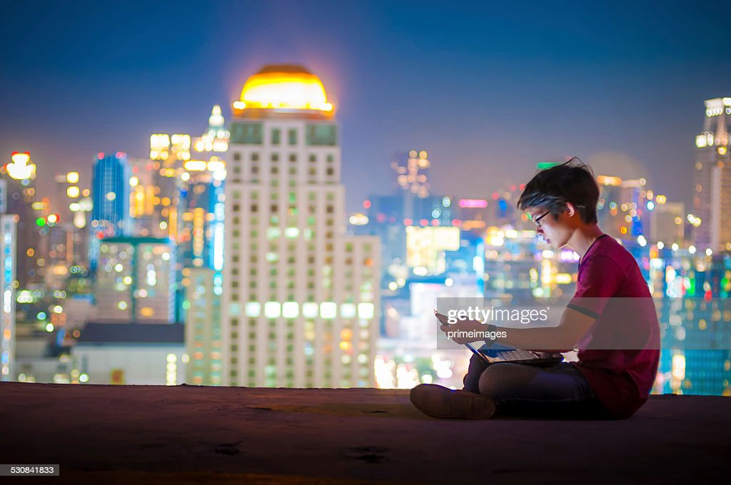 Workplace in the night city : Stock Photo