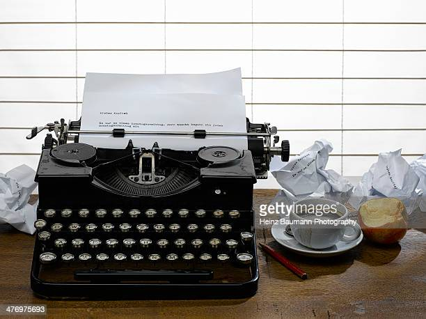 Workplace of a writer with old typewriter