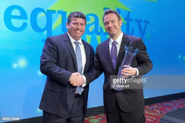 Workplace presenter Larry Ryan and Workplace Honoree Roy Harvey attend the ninth annual PFLAG National Straight for Equality Awards Gala on March 27,...