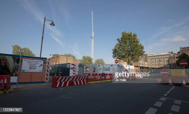 Works and back entrance to a quiet Euston Station during rush hour on May 04, 2020 in London . The country continued quarantine measures intended to...