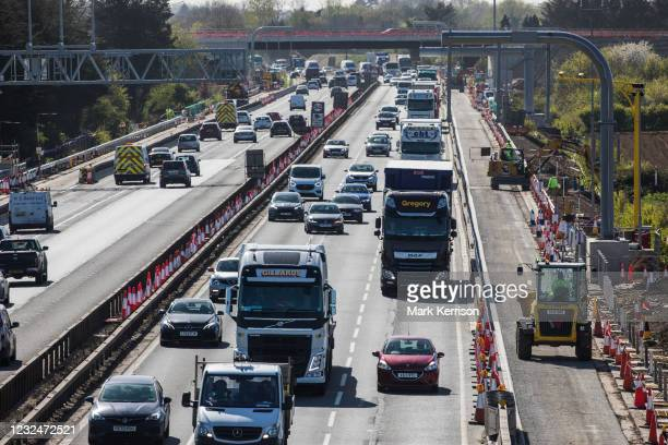 Works by Highways England to convert the M4 into a 'smart motorway' are pictured close to Junction 7 on 22nd April 2021 in Dorney, United Kingdom....