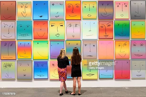 Works by Rob Pruitt presented by Gavin Brown's enterprise New York at Unlimited Art Basel are displayed on June 10 2013 in Basel Switzerland...