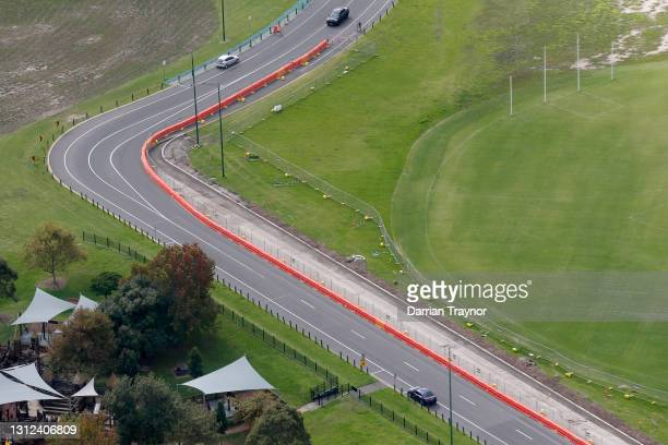 Works can been see on alterations being made to turn 1 at the Formula 1 Australian Grand Prix track in Albert Park on April 14, 2021 in Melbourne,...