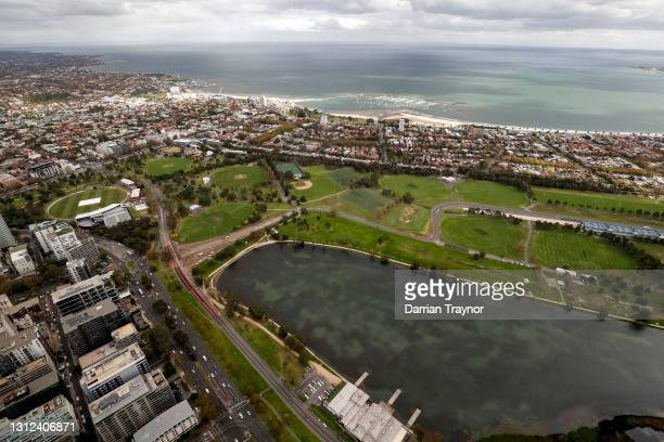 Works can been see on alterations being made to turn 13 at the Formula 1 Australian Grand Prix track in Albert Park on April 14, 2021 in Melbourne,...