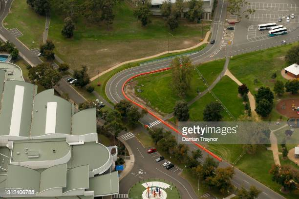 Works can been see on alterations being made to turn 3 at the Formula 1 Australian Grand Prix track in Albert Park on April 14, 2021 in Melbourne,...