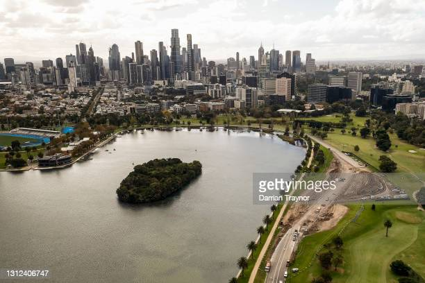 Works can been see on alterations being made to turns 9 and 10 at the Formula 1 Australian Grand Prix track in Albert Park on April 14, 2021 in...