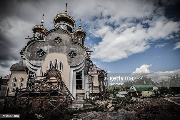 Works in the new church of Slavutich Ukraine city of the relocated workers after the accident of the Chernobyl nuclear plant In the right side the...