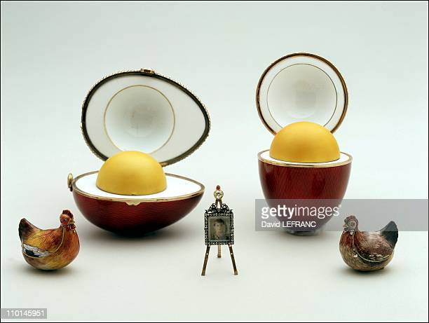 Works of art by Carl Faberge from the Forbes collection in New York United States on November 26 2002 Kelch Hen Egg and Scandinavian Egg