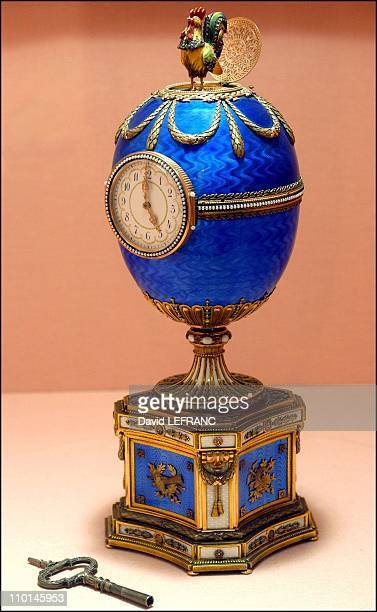 Works of art by Carl Faberge from the Forbes collection in New York United States on November 26 2002 Chanticleer egg in two color gold enamel...