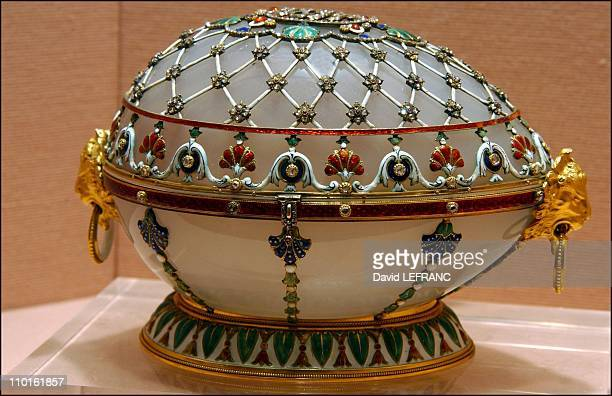 Works of art by Carl Faberge from the Forbes collection in New York United States on November 26 2002 Renaissance egg was a gift to Czarina Maria...