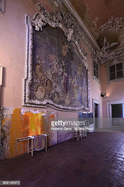 Works of Austrian artist Hermann Nitsch at the Crocifissioni Crucifixion Exhibition Preview at Palazzo Aldrovandi Montanari on January 15 2016 in...