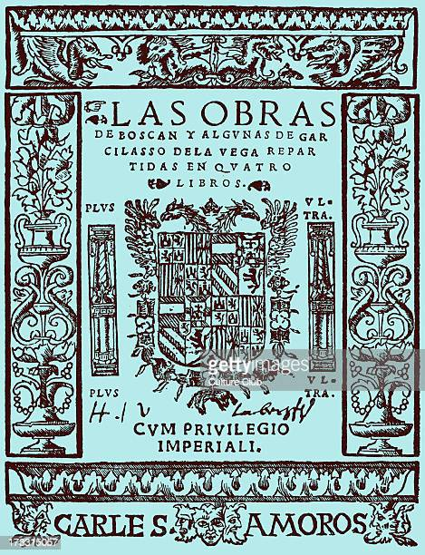 Works of Juan Boscán Almogáver and Garcilaso de la Vega title page of first editionSpanish title 'Las obras de Boscán y algunas de Garcilaso de la...