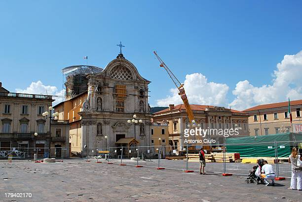 Works of static consolidation after the earthquake, Piazza Duomo. The L'Aquila earthquake of 2009 consists of a series of seismic events, which began...