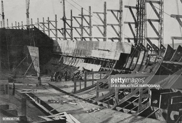 Works on the dreadnought Caracciolo of the Italian Royal Navy construction phase on December 31 Castellammare di Stabia Italy from L'Illustrazione...