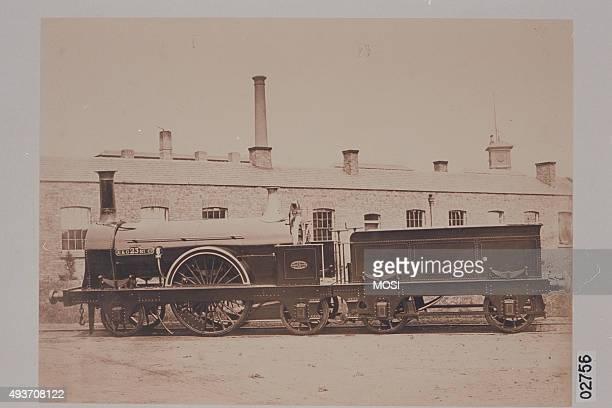 Works photograph of Edinburgh & Glasgow Railway '2-2-2' locomotive Order No 66 Left hand side elevation with tender. , circa 1855.