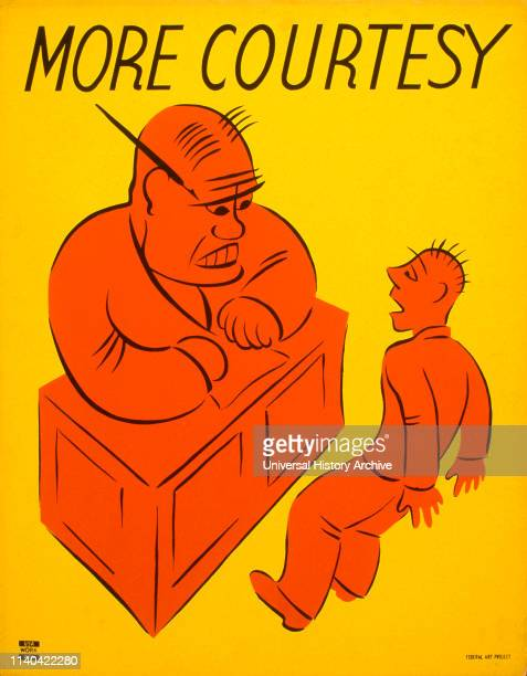 Works Project Administration Poster promoting better interpersonal communications in the workplace, showing an angry man at desk and a cowering...