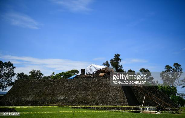 Works take place at the substructure inside the Teopanzolco pyramid in Cuernavaca Morelos State Mexico on July 11 2018 After an earthquake took place...