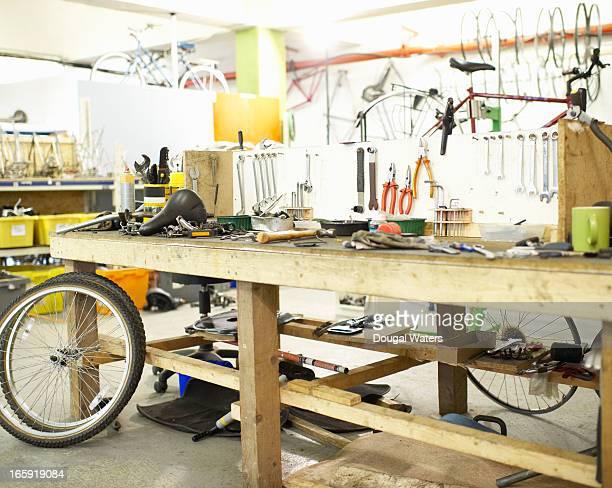 Workshop area in bicycle repair shop.