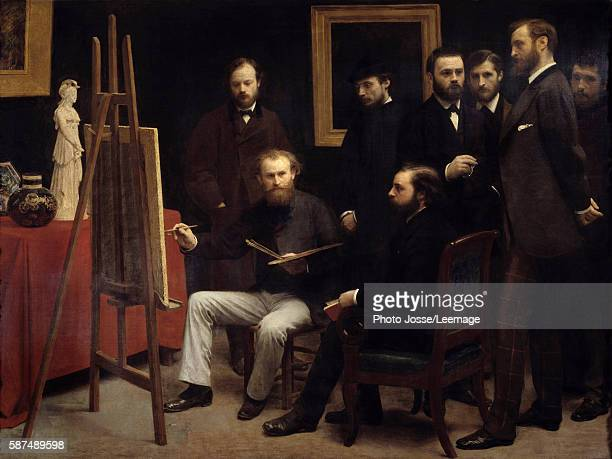 A workshop at the Batignolles Among the characters presents Otto Scholderer Edouard Manet seated center Pierre Auguste Renoir Zacharie Astruc Emile...