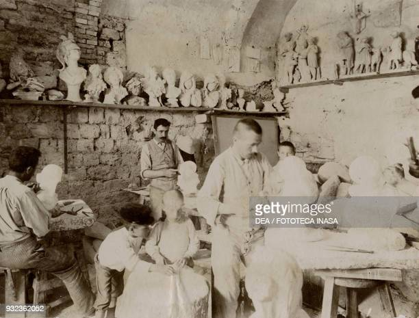 Workshop for processing alabaster in the Torre degli Auguri, Volterra, Tuscany, Italy, photograph by Corrado Ricci, July-August 1904.