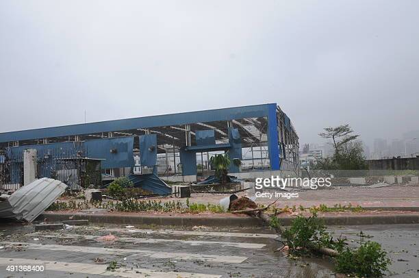 A workshop is shown damaged by Typhoon Mujigae on October 4 2015 in Zhanjiang China Typhoon Mujigae the 22nd typhoon this year made landfall in the...