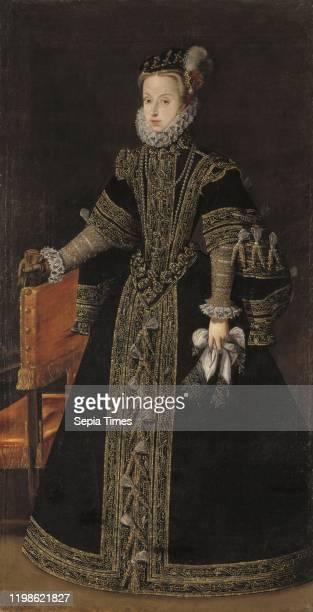 Workshop of Alonso Sanchez Coello, , Anna of Austria, Archduchess Anna Maria , Anna of Austria, Queen of Spain, Oil, Height: 206 cm , Width: 107 cm .