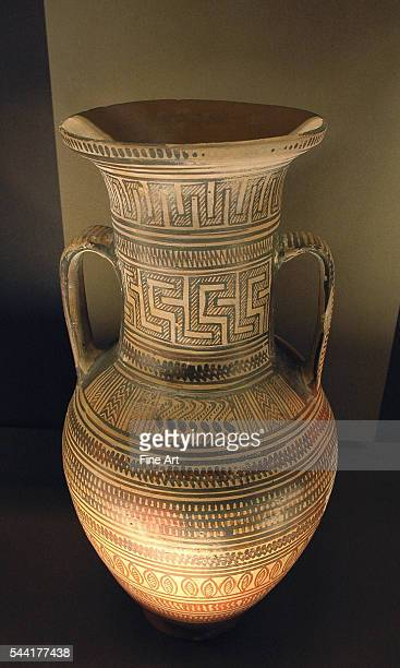 Workshop of Athens 897 Late Geometric Attic amphora circa 725 BC700 BC Height 462 cm diameter 22 cm Located in the Musee du Louvre Paris France