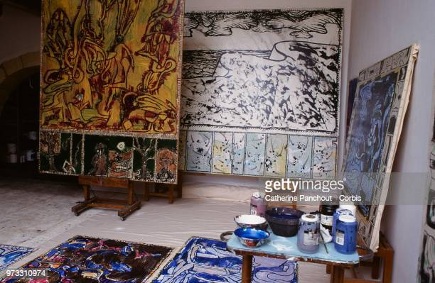 workshop of Belgian painter Pierre Alechinsky on August 7 1995 in Provence France
