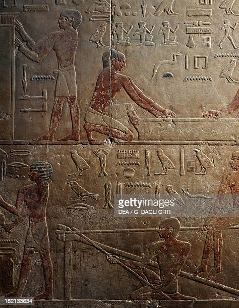 Workshop of sculptors and glass blowers painted relief Mastaba of Ty Saqqara Egyptian Civilisation Old Kingdom Dynasty V