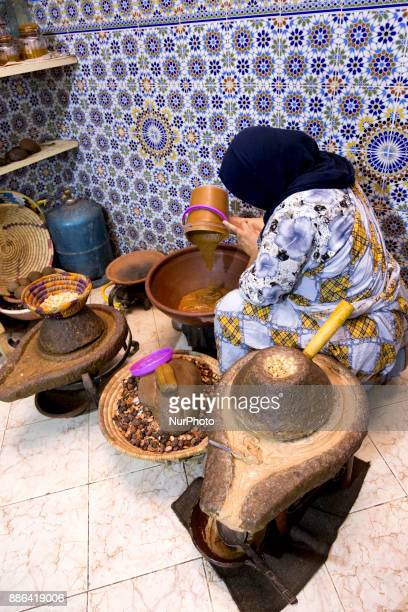 Workshop of women cooperative in Moroccan town of Tarudant on 22 of October 2017 Women produce argan oil as well as other traditional Moroccan...