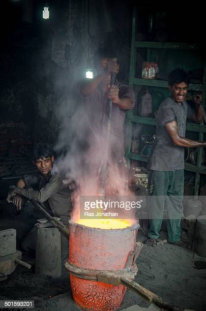 CONTENT] Workshop where labourers mould new propellers operating heavy metal casts by hand and exposed to open flames and molten metal with no...