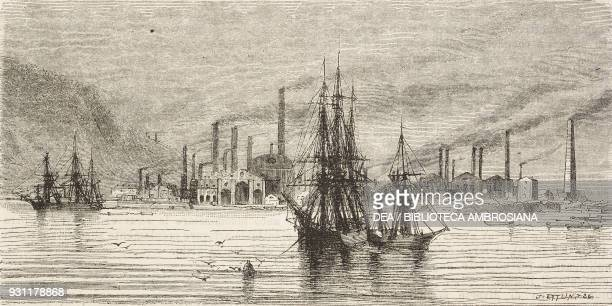 Workshops and docks in Swansea, United Kingdom, drawing by Jean-Baptiste Henri Durand-Brager from A visit to the great workshops of Wales by Louis...