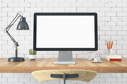 Workspace with Blank Computer Screen 1159395533