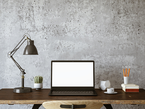 Workspace with Blank Screen Laptop 1133765600